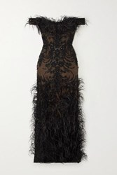 Marchesa Off The Shoulder Feather And Crystal Embellished Embroidered Tulle Gown Black