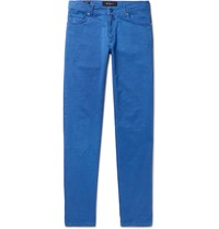 Kiton Blue Slim Fit Cotton Blend Twill Trousers Blue