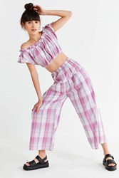 Urban Outfitters Uo Madras Wide Leg Pant Red
