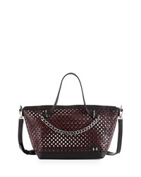 Halston Heritage Perforated Leather Small Satchel Bag Black