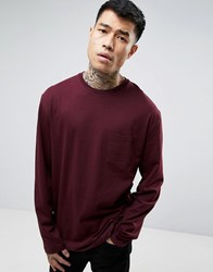 Asos Longline Long Sleeve T Shirt With Pocket In Red Kidney