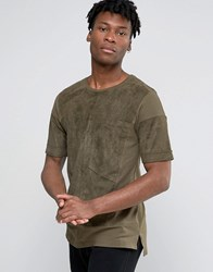 Black Kaviar Oversized Suedette T Shirt With Big Pocket Khaki Green