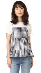 English Factory T Shirt Layered Top Black Gingham