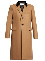 Saint Laurent Velvet Collar Camel Hair Blend Overcoat