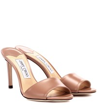 Jimmy Choo Stacy 85 Leather Sandals Pink