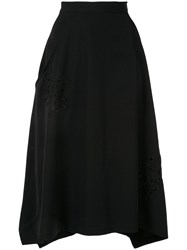 Y's Embroidered Asymmetric Skirt Black