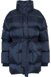 Goen.J Tie Front Quilted Shell Coat Navy
