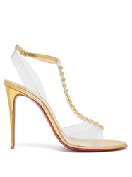 Christian Louboutin Jamais Pyramid Stud Mirrored Leather Sandals Gold