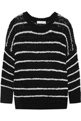 Iro Odessa Striped Open Knit Cotton Blend Sweater Black