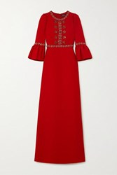 Andrew Gn Crystal Embellished Crepe Gown Red