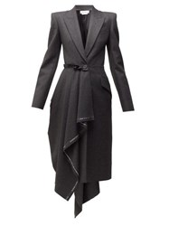 Alexander Mcqueen Selvedge Edge Draped Single Breasted Wool Coat Grey