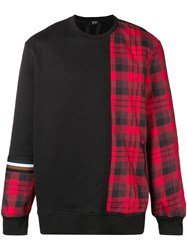 N 21 No21 Plaid Panel Sweatshirt Black