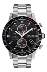 Boss Men's Rafale Chronograph Bracelet Watch 45Mm Black Silver