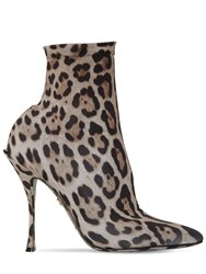 Dolce And Gabbana 90Mm Leopard Stretch Jersey Ankle Boots