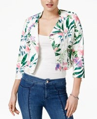 Guess Patterned Faux Leather Jacket Flower Explosion Combo