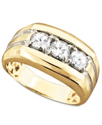Macy's Men's 14K Gold Ring Diamond Three Stone 1 Ct. T.W.
