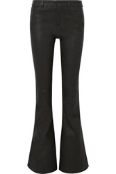 Alice Olivia Leather Flared Pants Black