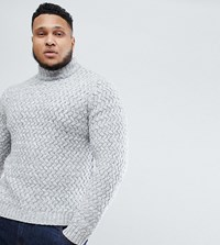 Only And Sons Plus Knitted Jumper With High Neck Light Grey Melange Black