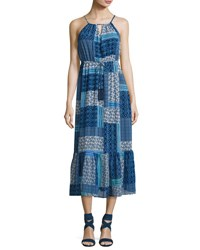 Neiman Marcus Beaded Tassel Maxi Dress Blue Pattern