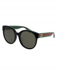 Gucci Glittered Monochromatic Round Universal Fit Sunglasses Tortoise Green Red Black