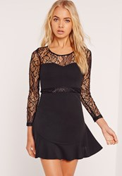 Missguided Frill Hem Lace Long Sleeve Bodycon Dress Black