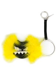 Fendi Monster Crystal Embellished Fox Fur Keyring Yellow And Orange
