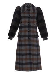 Marc Jacobs Contrast Sleeved Wool Blend Plaid Coat