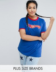 Daisy Street Plus Jersey Tee With Contrast Tipping Blue