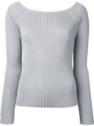 Estnation Ribbed Boat Neck Sweater Women Silk Lyocell Rayon 38 Grey