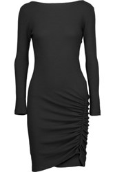 Kain Label Dallin Ruched Stretch Modal Dress Black