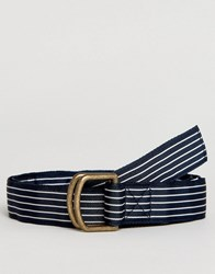 Abercrombie And Fitch Ribbon Belt In Navy Stripe Navy Stripe