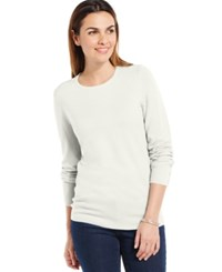 Jm Collection Crew Neck Solid Button Sleeve Sweater Eggshell