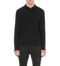 Allsaints Brace Cotton Jersey Polo Shirt Jet Black