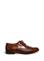 Cole Haan 'Jagger' Woven Panel Burnished Leather Oxfords Brown