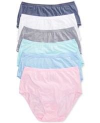 Fruit Of The Loom 6 Pk. Briefs 6Dpusb1 White Vintage Slate Deja Blue Kitty Pink Breez