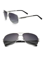 Montblanc 63Mm Aviator Sunglasses Silver