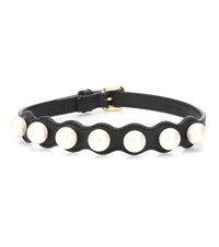 Fendi Ribbons And Pearls Choker Black