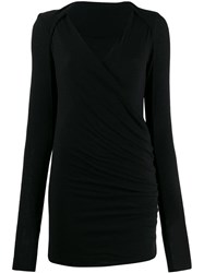 Masnada Wrap Front Knitted Top Black