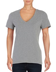 Lord And Taylor Solid V Neck T Shirt Silver