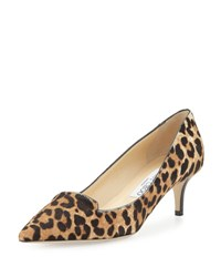 Jimmy Choo Allure Leopard Print Calf Hair Loafer Pump Natural