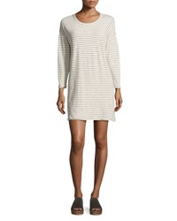 Current Elliott The Painter Long Sleeve T Shirt Dress Cream Duet Stripe