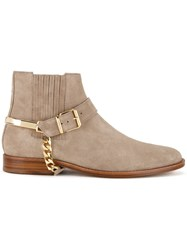 Balmain Fringed Ankle Boots Nude Neutrals