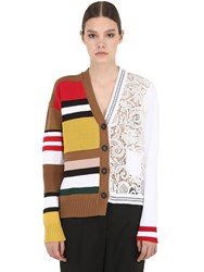 N 21 Striped Cotton Knit And Lace Cardigan Multicolor