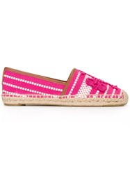 Tory Burch Woven Espadrille Shoes Pink Purple