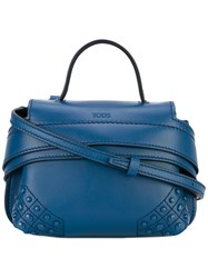 Tod's Studded Shoulder Bag Men Calf Leather One Size Blue