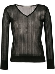 L'autre Chose Lightweight Crochet V Neck Sweater Black