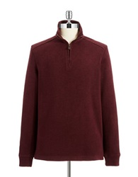 Black Brown Cotton Zipper Sweater Red