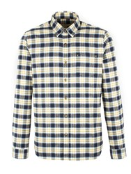 Gibson Men's Navy And Gold Check Long Sleeved Shirt Navy