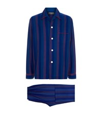 Harrods Brushed Cotton Striped Pyjama Set Blue