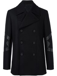 Les Hommes Panelled Double Breasted Coat Black